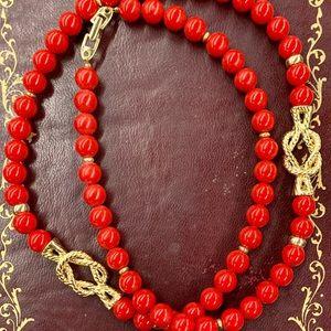Napier Red Bead Gold Sailors Knot Necklace Vintage